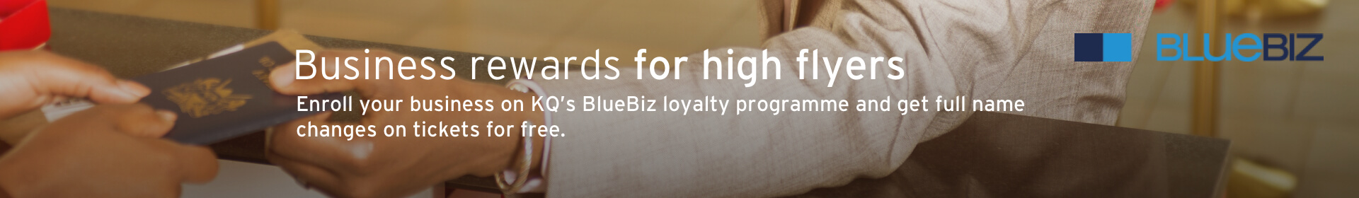 Register for Blue Biz Loyalty Program - Kenya Airways