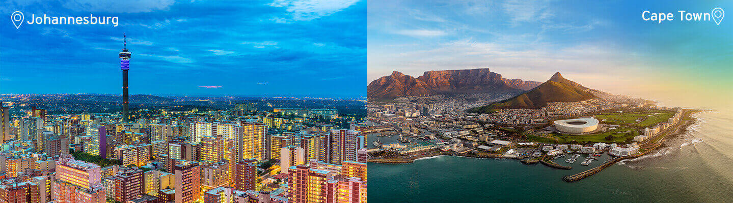 Johannesburg and Cape Town
